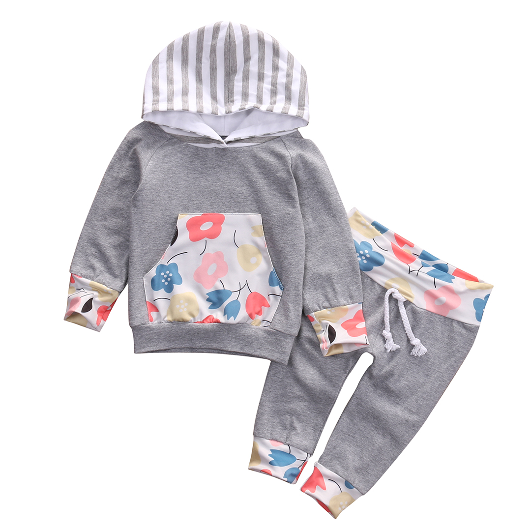 2016 New Casual Baby Girl Clothes 2PCS Autumn Clothing Set Floral Hooded Top Pant Outfits Newborn Bebek Giyim 0-24M 2017 floral baby romper newborn baby girl clothes ruffles sleeve bodysuit headband 2pcs outfit bebek giyim sunsuit 0 24m