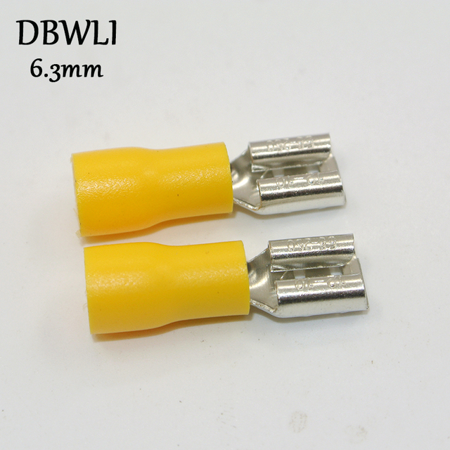 50pcs  Female  Red blue yellow 2.8mm 4.8mm 6.3mm Insulated Spade Wire Connector Electrical Crimp Terminal