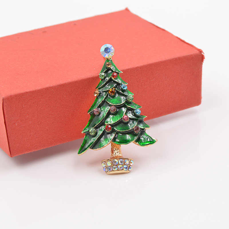 d150a6d661 CINDY XIANG Green Enamel Christmas Tree Brooches for Women Fashion  Rhinestone Brooch Pin Winter Coat Accessories Broches Gift