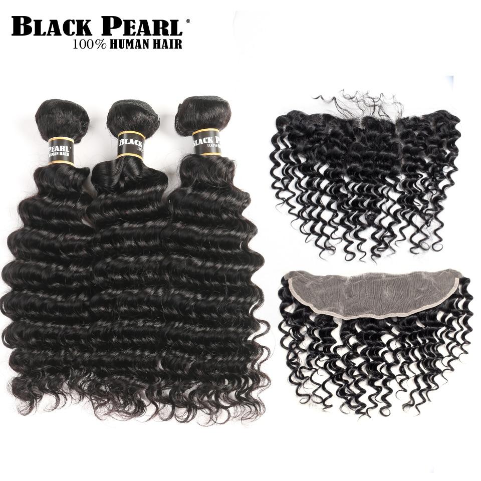 Black Pearl Pra-warna Brazilian Deep Wave Bundles Dengan Frontal Non - Rambut manusia (untuk hitam)