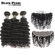 Black Pearl Forfarvede brasilianske Deep Wave Bundles Med Frontal Non Remy Human Hair 3 Bundles With 13x4 Lace Closure