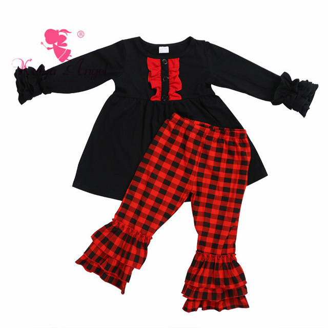 582483b3cc20 Kaiya Angel Christmas Red and Black Plaid Toddler Girl Spring Summer  Boutique Outfits Clothes Birthday Party