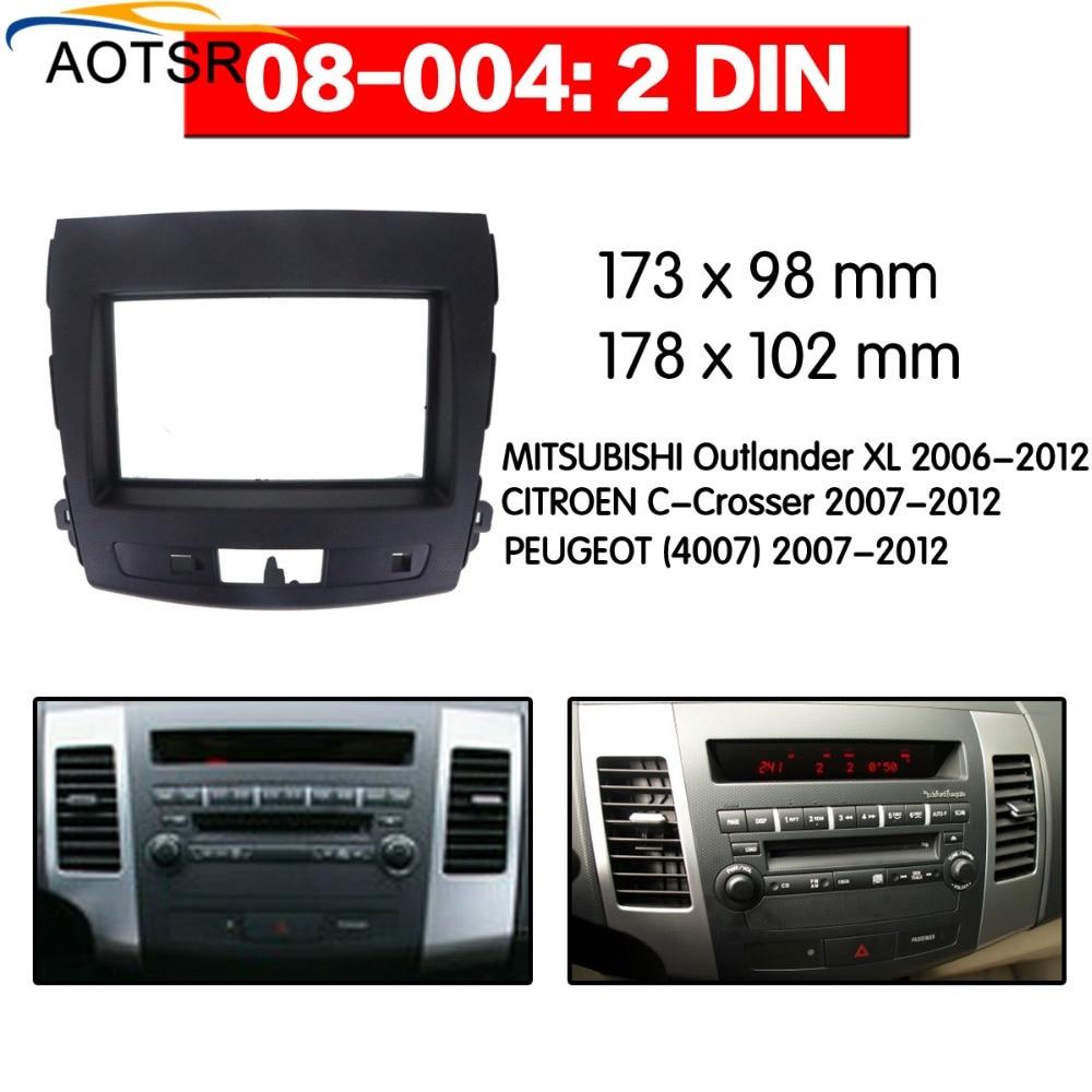 Radio Facia pour 2006-2012 Mitsubishi Outlander 2DIN combinaison lecteur dvd Fascia voiture stéréo Radio installation Dash