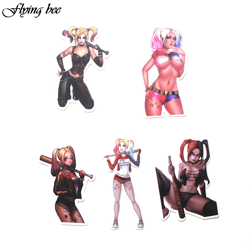 Image 5 - Flyingbee 33 Pcs Suicide Squad Harley Quinn Graffiti Stickers Funny Waterproof PVC Stickers for Suitcase Skateboard Laptop X0025-in Stickers from Consumer Electronics