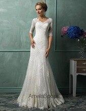 Elegant Lace Mermaid Wedding Dresses Half Sleeves Custom Plus Size And Color Wedding Gowns Ivory Vestidos De Noiva 2016 WDA07
