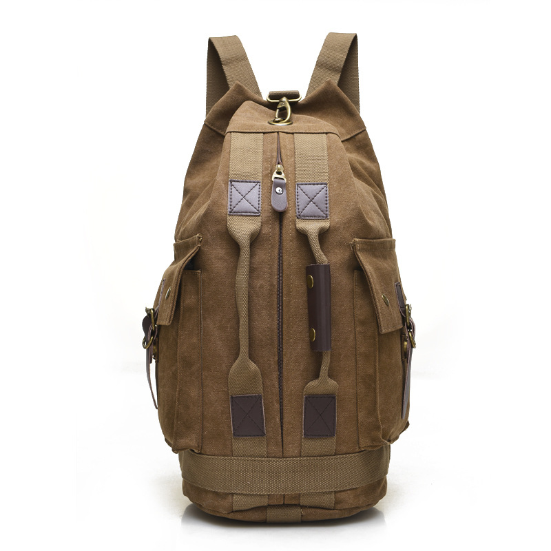 Large Capacity Mountaineering Men Backpack Multifunction Men Travel  Bags Casual Canvas  Bucket Bags