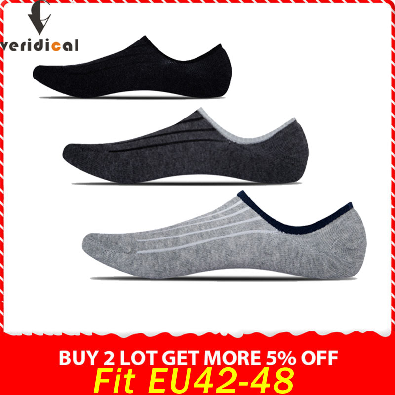 VERIDICAL 5 Pairs/lot Big Size Cotton Boat Socks Summer Breathable No Show Ankle Cool Socks Non-slip Solid Fit EU42-48 Sokken