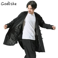 GODLIKE Men's vintage clothing/2018 men casual fashion retro trays with a long trench coat and a long trench coat loose S 5XL