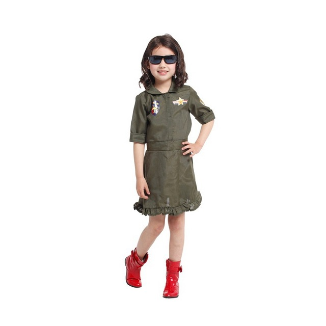 Girls Dresses Top Gun Air Force Halloween Costume Polyester Kids Career Role Cosplay Fancy Army Green  sc 1 st  AliExpress.com & Girls Dresses Top Gun Air Force Halloween Costume Polyester Kids ...