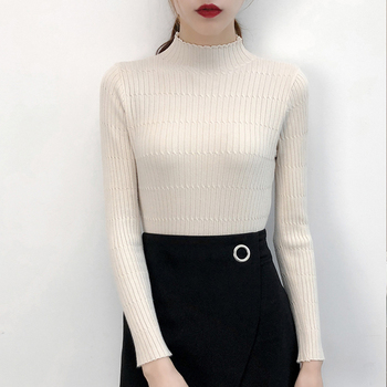 Turtleneck Knitted Sweater Female Simple Pullovers Ladies Top Fashion Sweet Women Sweaters Korean Jumper Stripe Black Yellow Women Outerwear & Accessories