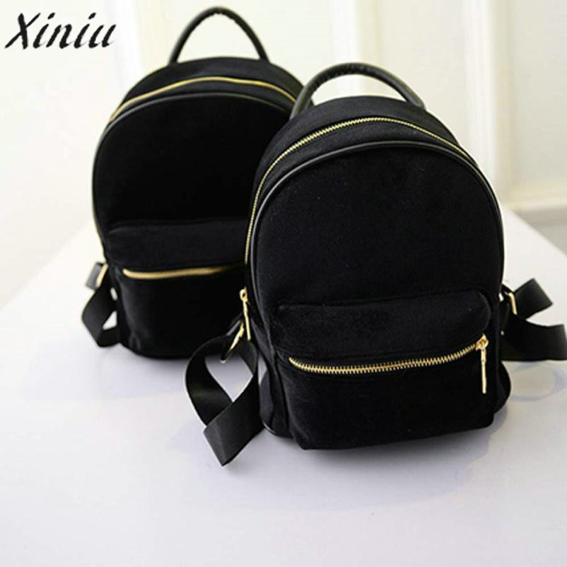 Women Backpack Hot Sale Fashion Women Gold Velvet Small Rucksack Backpack School Book Shoulder Bag Mochila Feminina #622