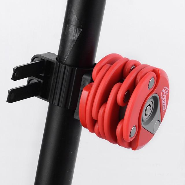 Pat 2018 nouvelle serrure de vélo pliable avec 2 clés forte sécurité antivol vélo serrure alliage support de montage montagne route vélo serrure
