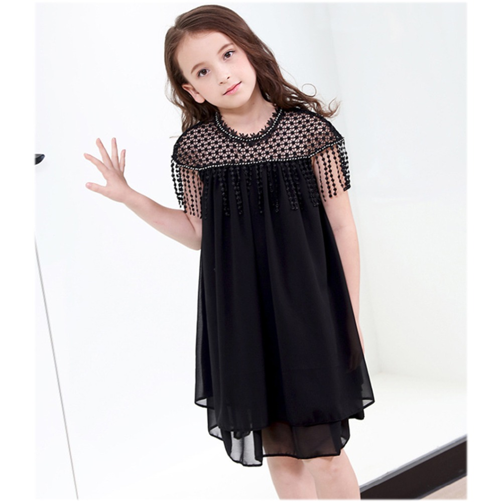 Princess Dress for Teen Girl 5 7 9 11 13 15 Years Tassels Chiffon Dress Summer Black Lace Dresses Baby Todder Girls Clothing