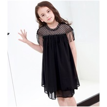 Princess Dress for Teen Girl 5 7 9 11 13 15 Years  Tassels Chiffon Dress  Summer Black Lace Dresses Baby Todder Girls Clothing baby girl dresses 2017 black polka dot chiffon dress white dotted clothing for girls age 5 6 7 8 9 10 11 12 13 14t years old