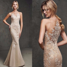 Сексуальное длинное вечернее платье русалки цвета шампанского с кружевной аппликацией, вечерние платья для выпускного вечера