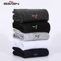 Seven7 Brand Fashion Men Socks 5 Pairs Set High Quality Cotton Sock Solid Colors Classic Basic