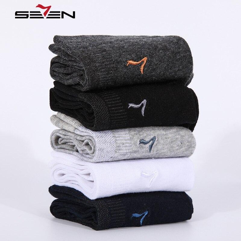 Seven7 Marque Mode Hommes Chaussettes 5 Paires \ Set de Haute Qualité Coton Chaussette Solide Couleurs Classique De Base Confortable Robe Chaussettes 114F00060