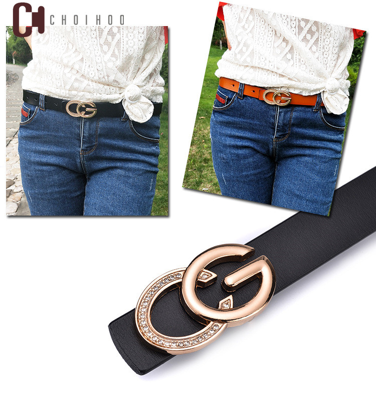 2018 Holly Leather   Belts   For Women Jeans Diamond Decorative C Bright G Solid Letters Buckle Waist Bands 2.3cm Cow Strap 255G