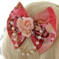 Japanese Style Red Printed Bow and Flower Butterfly Lolita Headdress Hairpin with Pearl Decor