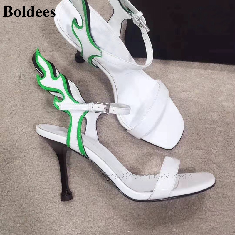 New Strange Heeled High Heel Gladiator Sandals Woman Flame Designer One Belt Concise Mixed Color Ankle Strap Summer Party Shoes