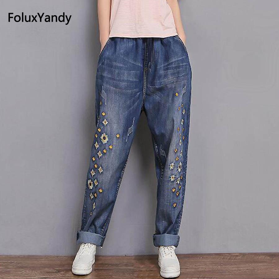 Embroidery Denim Wide Leg Pants Women Plus Size 3 XL Casual Loose Female Jeans Blue Trousers MYNZ101 calvin klein new blue printed drawstring wide leg women s size xl pants $79 035
