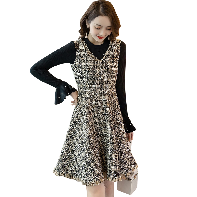 Women Sleeveless Tweed Strap Dress Sarafan Tassels Dress Autumn Winter Casual Vestido Tank Dress V Neck Sundress Plus Size4xl Dresses Aliexpress