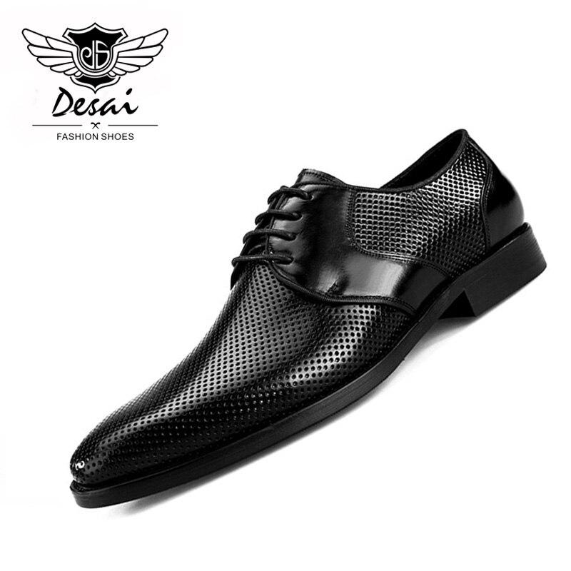 2019 ربيع جديد جوفاء تنفس حقيقية أحذية من الجلد الرجال الصنادل الأعمال اللباس عارضة أحذية من الجلد الرجال الصنادل-في صنادل رجالية من أحذية على  مجموعة 1