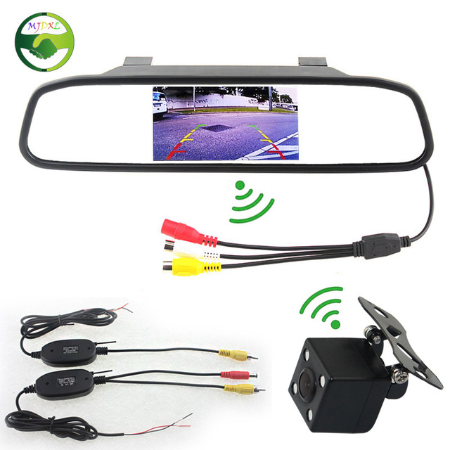 "2.4GHz Wireless Car Parking Assistance Camera Monitor Video System, Wireless Rearview Camera With 4.3"" Mirror Monitor"