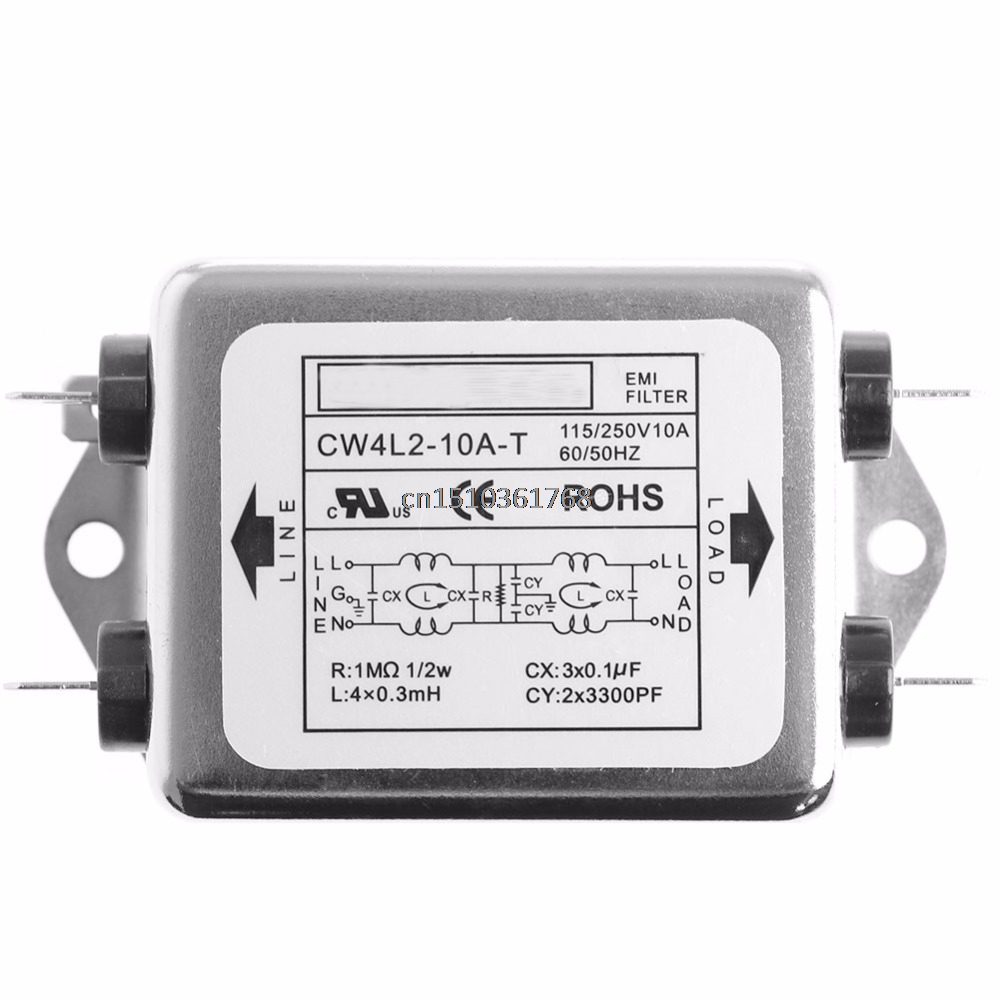 CW4L2-10A-T Power EMI Filter Monophasic Enhanced AC 220V 50/60 HZ New #Y05# #C05# dial thermostat temperature control switch for electric oven ac 220v 16a 50 300c degree y05 c05