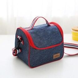 Новая модная джинсовая портативная Термосумка для пищи сохраняющая тепло для еды на пикник сумка для женщин дети мужчины термо охладитель ...
