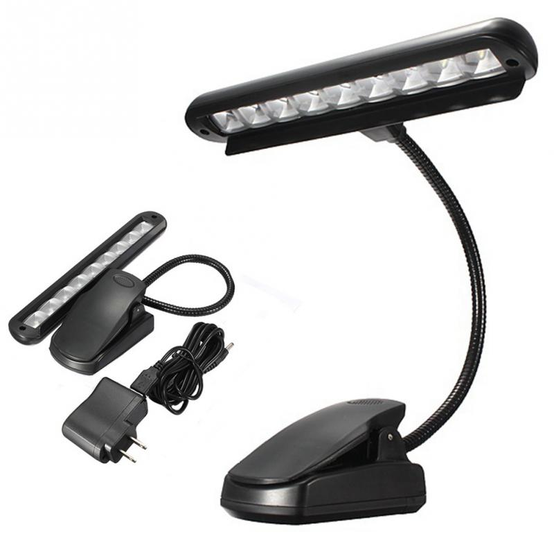 9 LED Clip-on Music Stand Lights Portable Flexible Gooseneck Eye Protection Reading Book Light USB Bed Desk Lamp