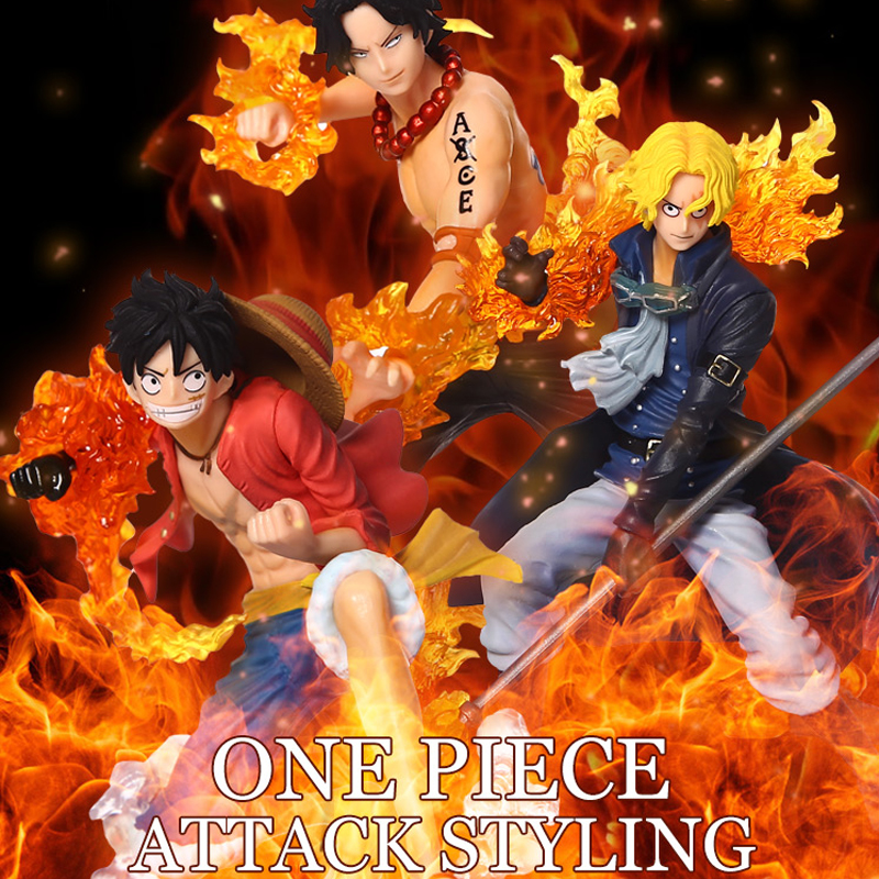 Anime One Piece 9-11cm 3pcs/set  Luffy & Ace & Sabo 3 brother PVC Action Figure Toys Dolls