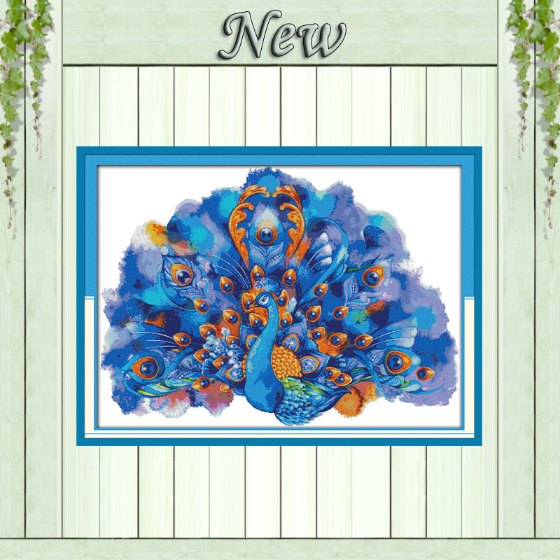 2 Printed On Canvas Dmc Counted Chinese Cross Stitch Kits Printed Cross-stitch Set Embroidery Needlework Shop For Cheap Blue Peafowl