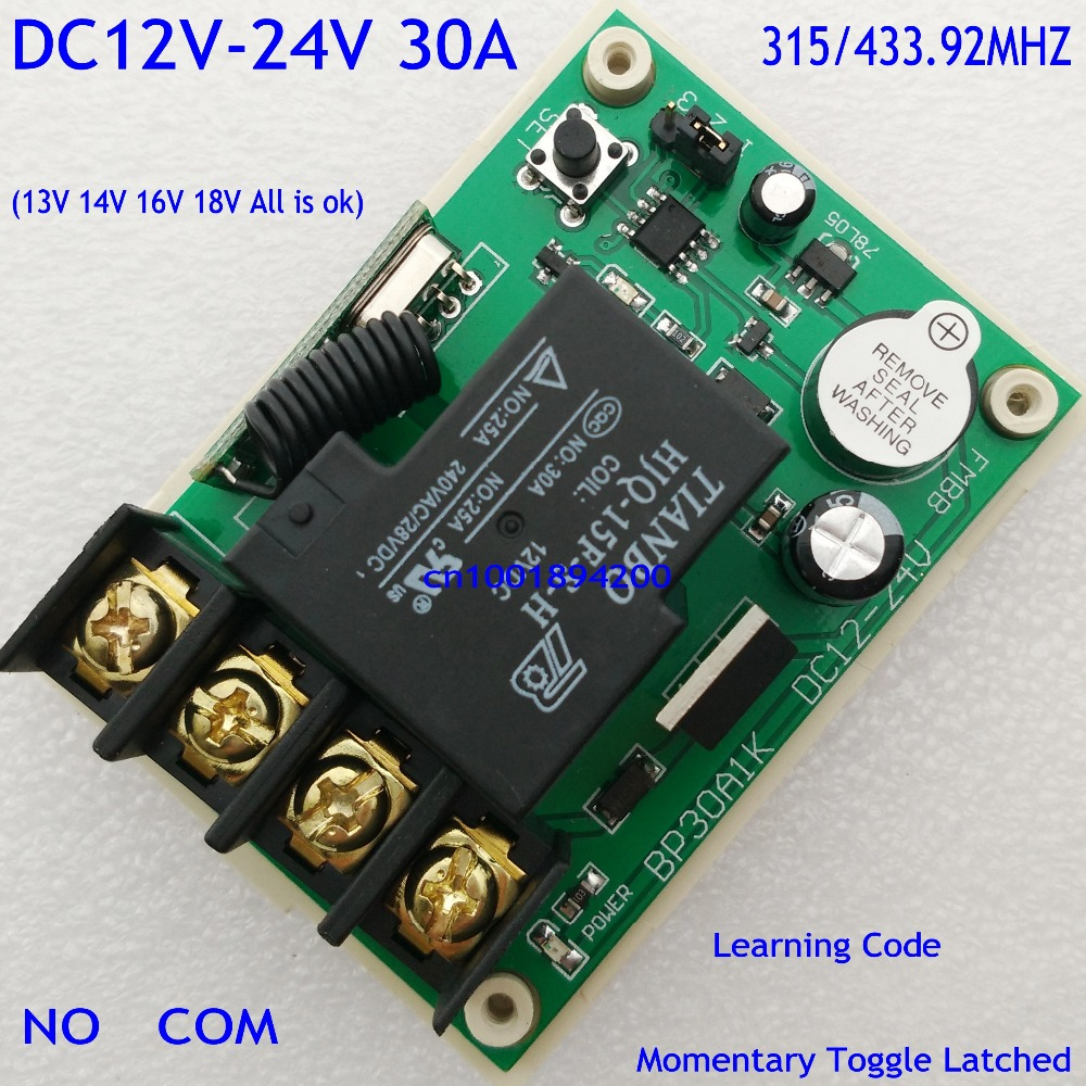 Remote Control Switches DC 12V-24V 1 CH 30A Relay Receiver for Car Battery Power Supply DC 13V 14V 16V Learning M T L 315/433.92Remote Control Switches DC 12V-24V 1 CH 30A Relay Receiver for Car Battery Power Supply DC 13V 14V 16V Learning M T L 315/433.92