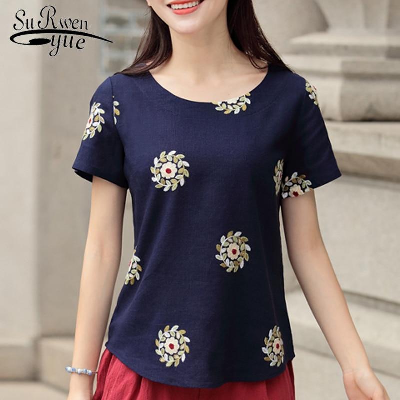new summer short sleeve cotton linen women blouse shirt fashion 2018 women tops plus size print womens clothing blusas D827 30