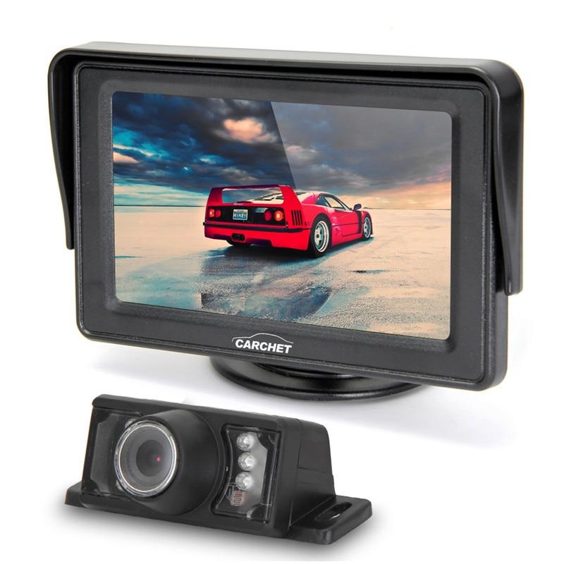 CARCHET 4.3 TFT LCD Display Screen Car Rear View Monitor IR Reverse Backup 7 LED Night Version Camera Rearview Backup Monitors