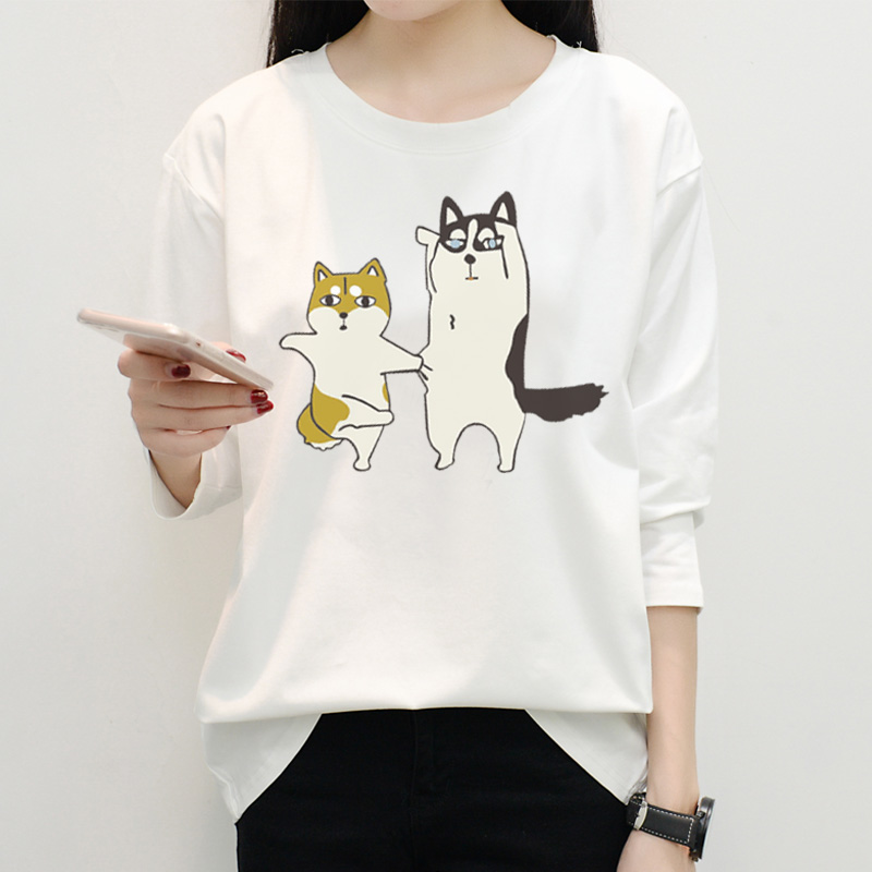 Femmes T-shirts à manches longues Chic été nouvelle personnalité femmes T-shirt manches Harajuku Style coréen Slim lâche T-shirt