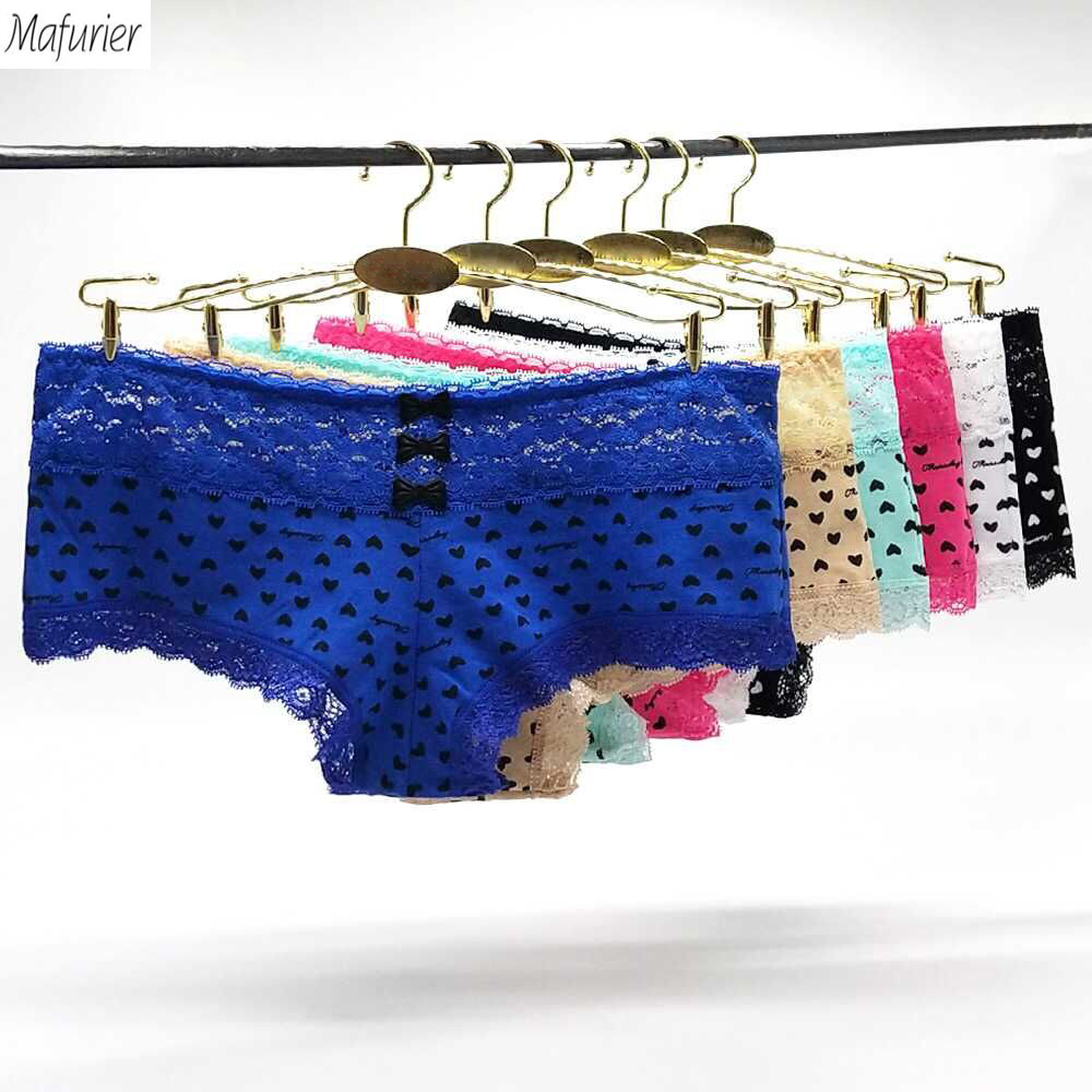 Buy Mafurier Women New Sexy Lace Boyshort Underwear Female Cotton Panties Knicker Lady Soft Briefs Plus Size M-XXL Women6Pcs/Lot