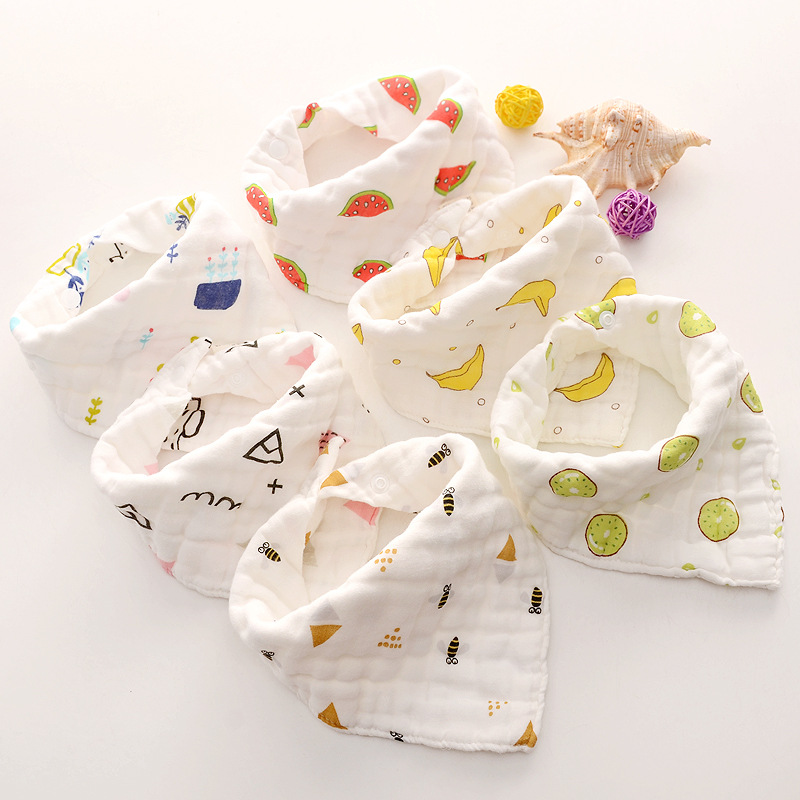 8-layer Muslin Baby Bibs 100% Natural Cotton Soft Baberos Bebe Animal Bandana Infant Smock Burp Cloth Feeding Saliva Towel(China)