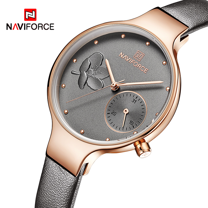 NAVIFORCE Women Watches Top Brand Luxury Fashion Female Quartz Wrist Watch Ladies Leather Waterproof Clock Girl