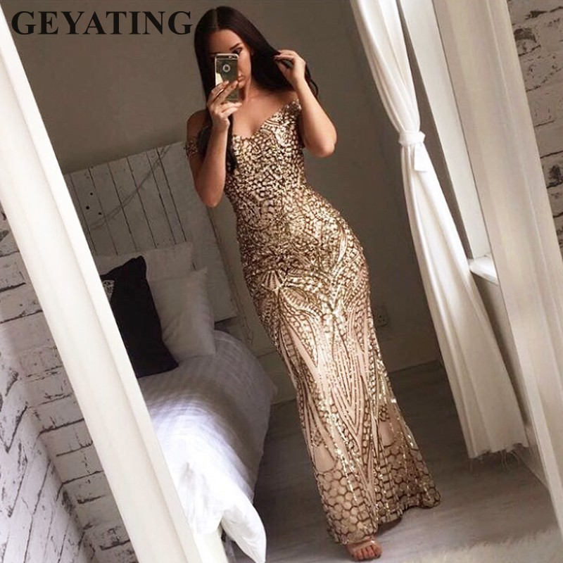 Shiny Gold Sequined Mermaid   Prom     Dresses   2019 Cheap Off Shoulder Floor Length Vintage Backless Long Evening   Dress   Formal Gowns