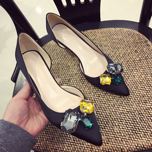 ФОТО 2017 Spring woman pumps pointed toe colorful Crystal woman shoes med high heels black green shallow woman dress pumps hot sale