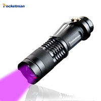 High Quality CREE LED UV Flashlight SK68 Purple Violet Light UV Torch 395nm Lamp Free Shipping