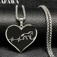 2019 Fashion Horse Stainless Steel Choker Necklace for Men Silver Color Black Heart Necklace Jewelry colgante hombre N18315