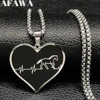 Collar de gargantilla de acero inoxidable de caballo de moda 2019 para hombre, collar de corazón negro de Color plateado, joyería, collar para hombre N18315