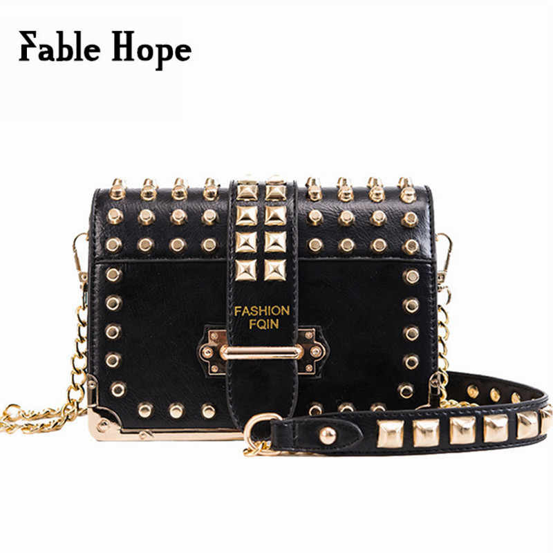 Punk Style Black Leather Bags Women Rivets Studded Female Crossbody Bag  Ladies Shoulder Bags Bolsos Mujer 174c628f9e44