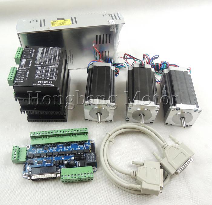 CNC Router Kit de 3 Eixos kit ST-M5045 (substituir 2M542) motorista + 5 eixos breakout board + Nema23 425 Onças-in motor + 350 W fonte de alimentação