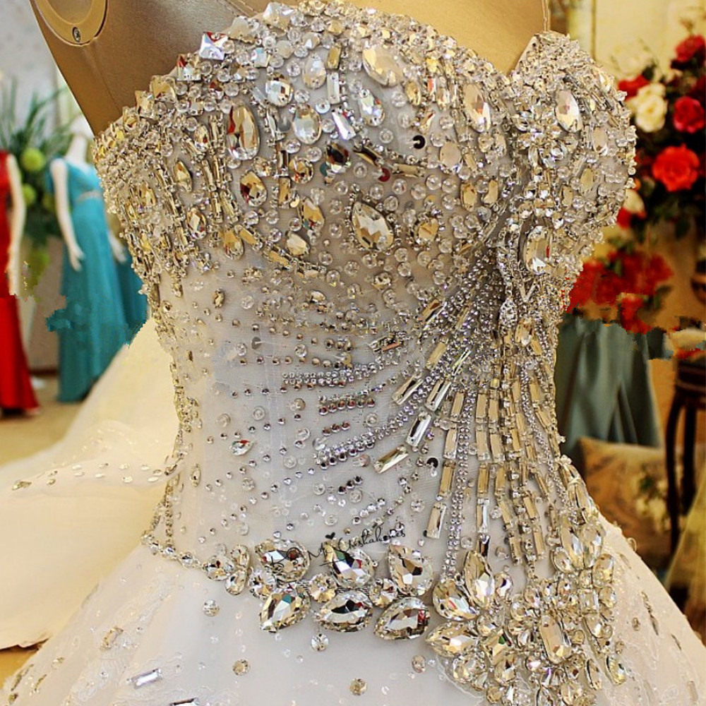 Ensotek Luxury High-end Crystal Beaded Lace Wedding Dress 2019 New Princess Bridal Embroidery Sweetheart Gowns