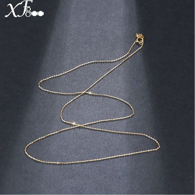18 inch XF800 Pure 18K Yellow Gold necklace Chain AU750 Gold fine jewelry for we