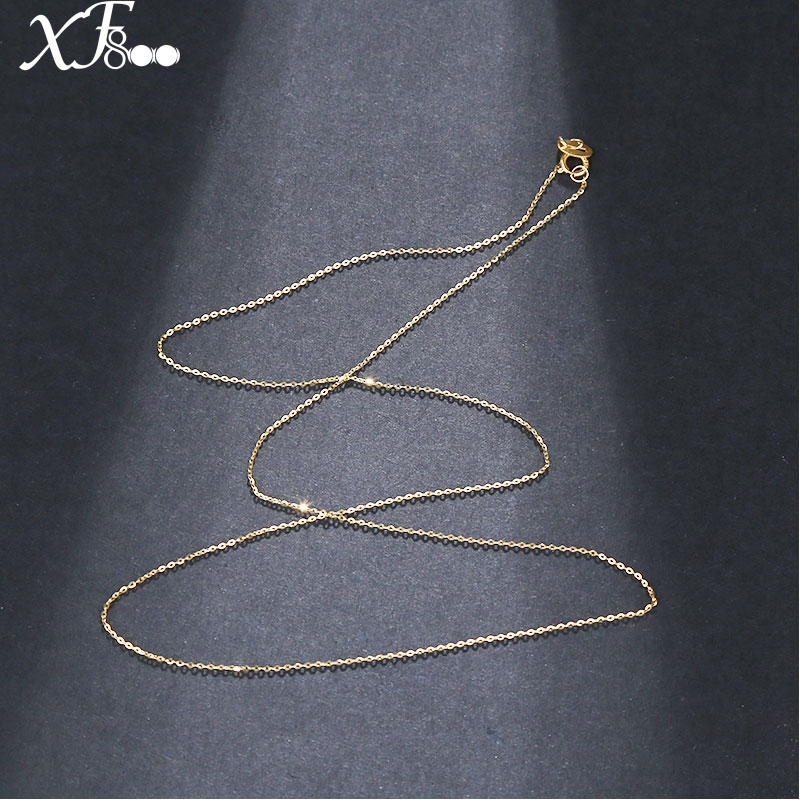 18 inch XF800 Pure 18K Yellow Gold necklace Chain AU750 Gold fine jewelry for wedding G02